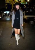 Victoria Justice seen wearing a Lagence dress with grey trench coat while out for a stroll in New York City