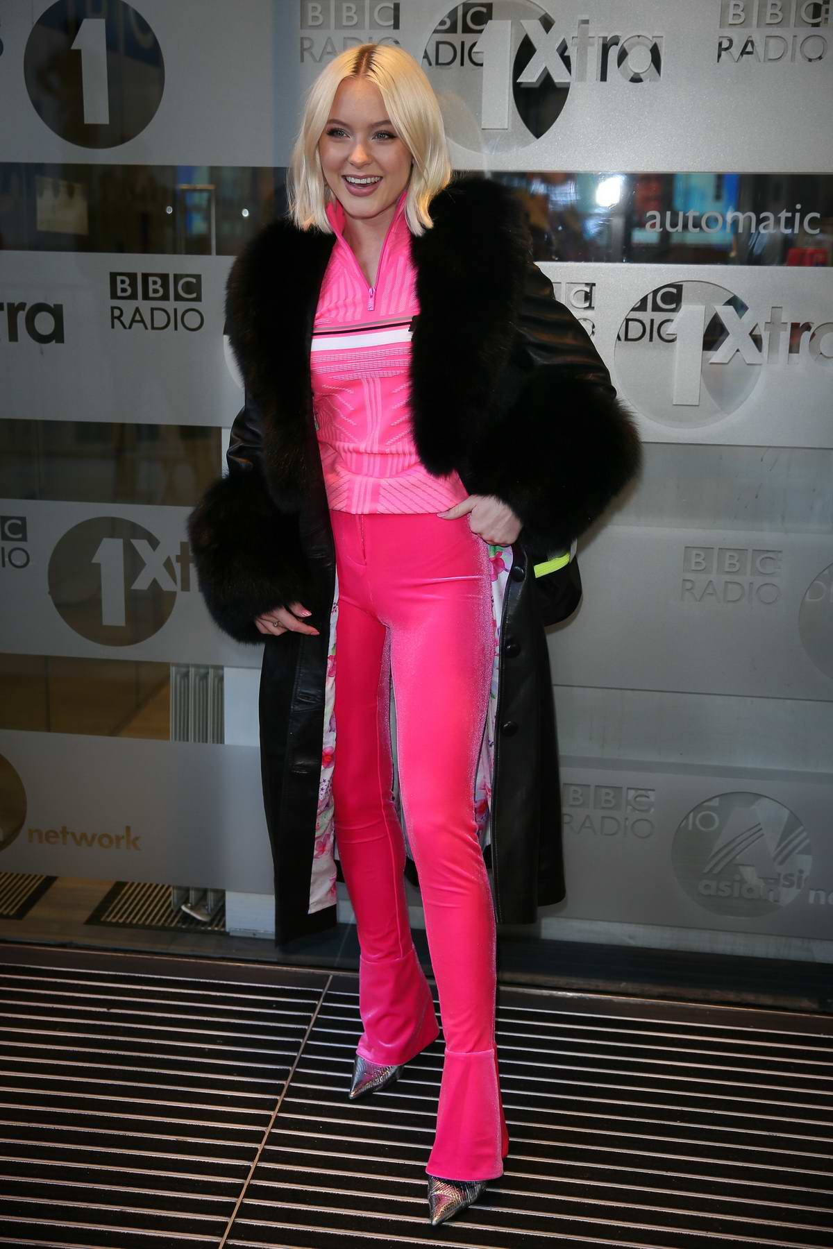 Zara Larsson looks pretty in pink as she arrives to perform on Live Lounge at BBC Radio One Studios in London, UK