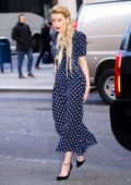 Amber Heard looks lovely in a blue and white polka dot dress as she arrives at 'Live With Kelly and Ryan' in New York City