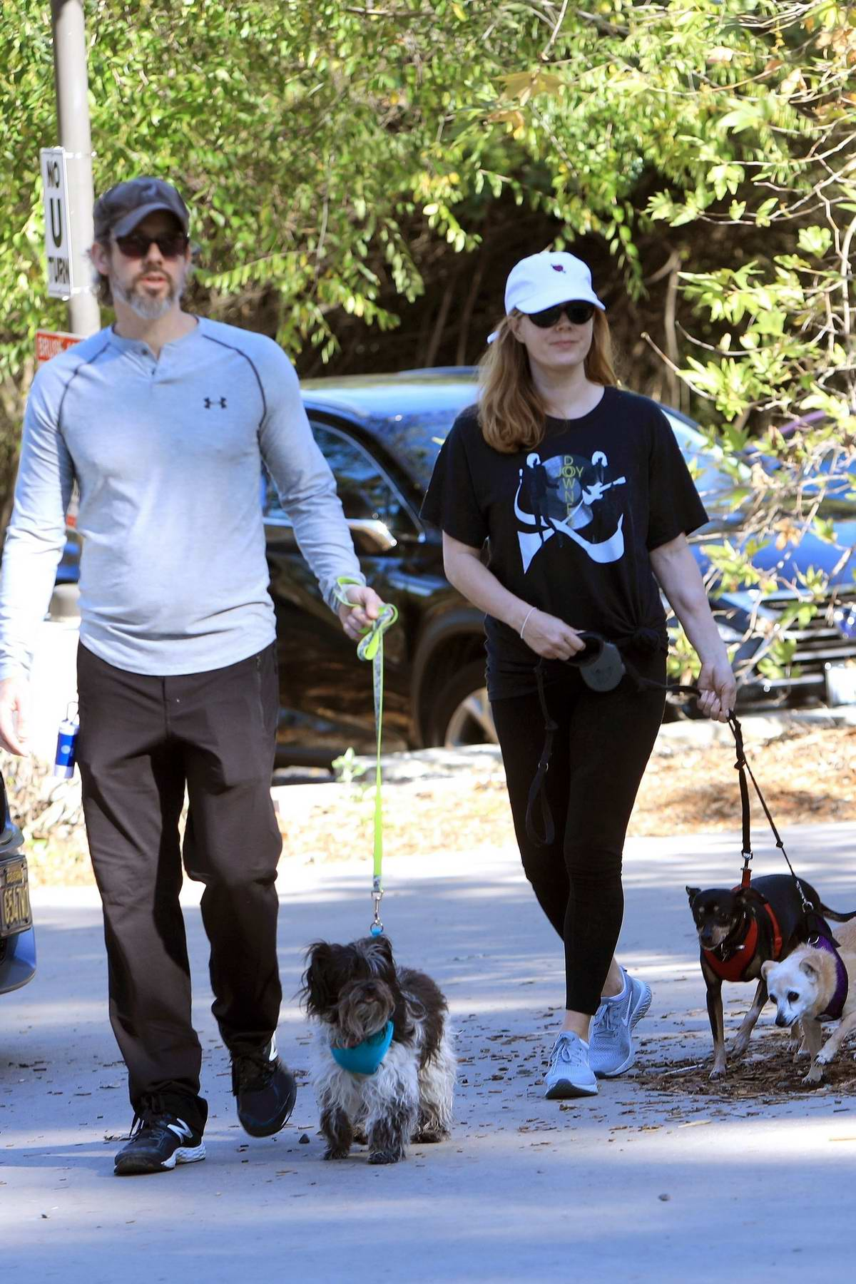 Amy Adams enjoys a hike with her family in Beverly Hills, Los Angeles