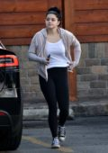 Ariel Winter rocks a sporty look with a hoodie, white tee and leggings while out to pick up some dog food in Sherman Oaks, California