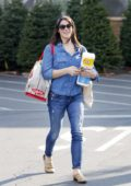 Ashley Greene is all smile while out wearing double denim to pick up some groceries in Beverly Hills, Los Angeles