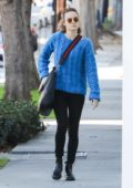 Brie Larson steps out in a blue sweater as she heads to a spa in West Hollywood, Los Angeles