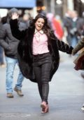Camila Cabello spotted in a black fur coat while filming a Mastercard commercial in New York City