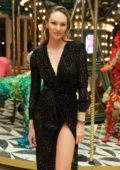 Candice Swanepoel attends Bvlgari and Art Production Fund celebrate Raúl De Nieves in Miami, Florida