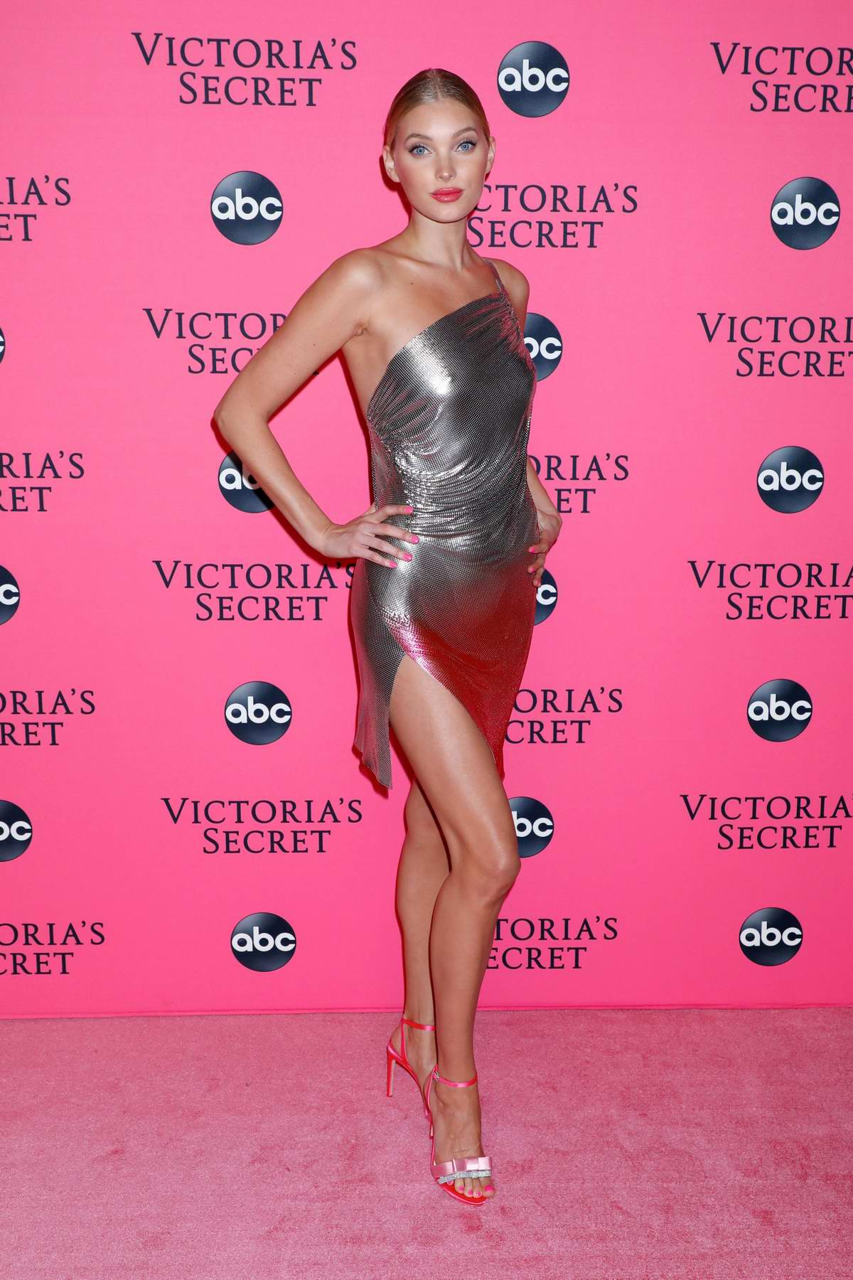 Elsa Hosk attends the 2018 Victoria's Secret Fashion Show Viewing Party at Spring Studios in New York City