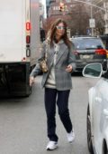 Emily Ratajkowski wore a hoodie with checkered blazer as she heads out of the Bowery Hotel in New York City