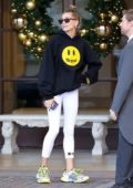 Hailey Baldwin sports black 'Drew' hoodie from husband Justin Bieber's clothing line as she leaves the Montage Hotel in Beverly Hills, Los Angeles