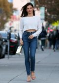 Jenna Dewan is all smiles as she stepped out on her birthday wearing a white crop top and blue jeans in Los Angeles
