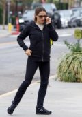 Jennifer Garner keeps it casual with a black jacket and leggings while out running errands in Brentwood, Los Angeles
