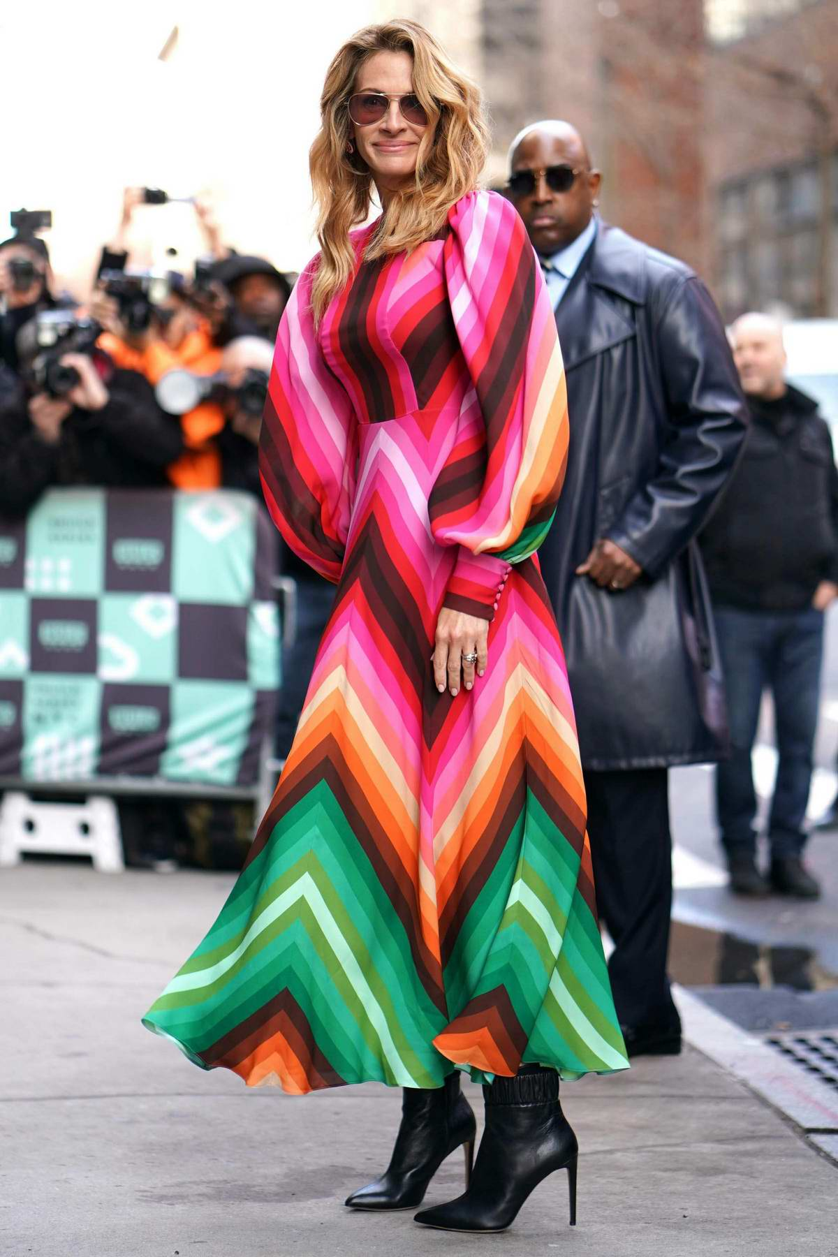 Julia Roberts looked lovely in a colorful dress while visiting AOL Build Series in New York City