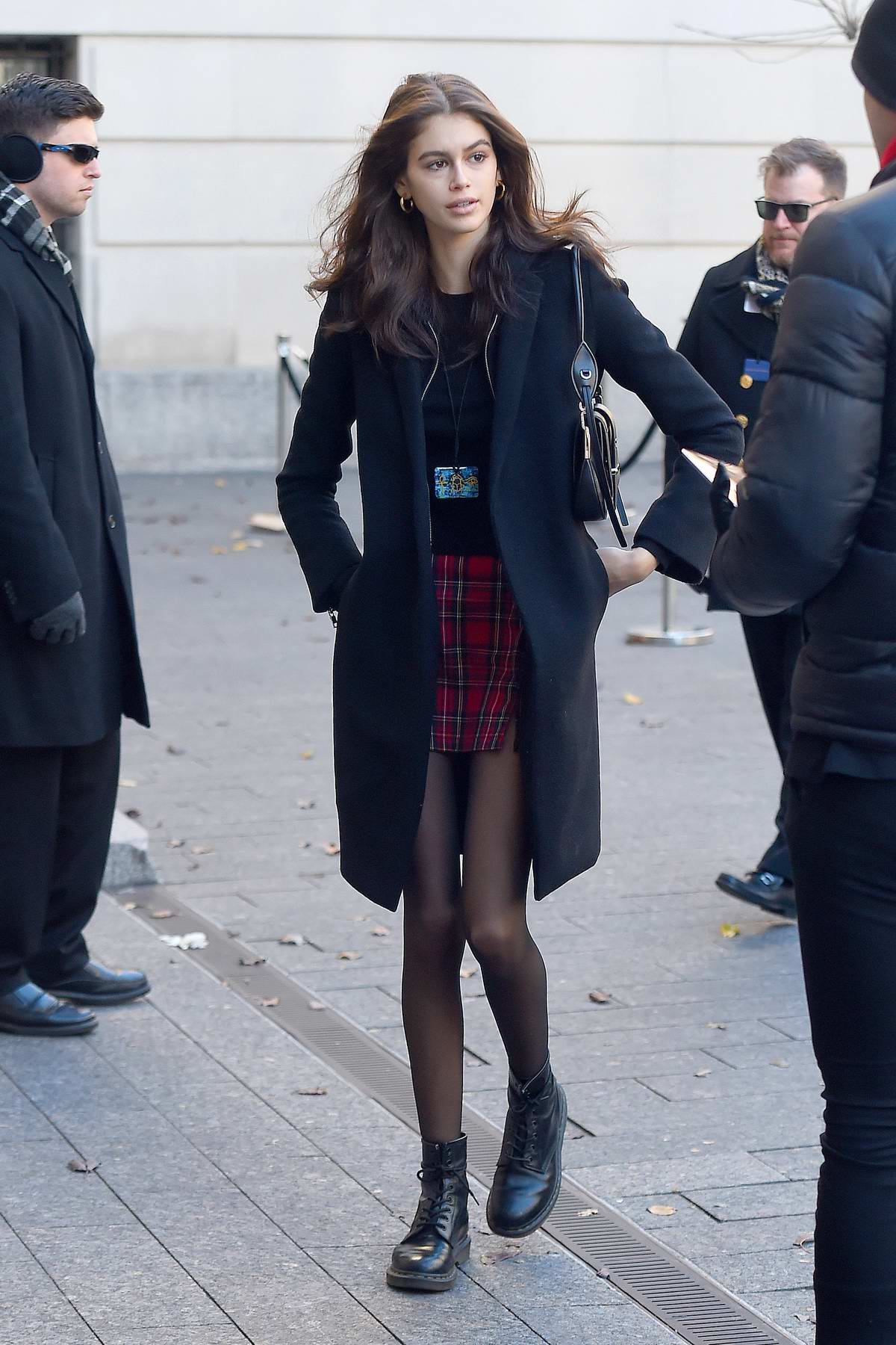 Kaia Gerber arrives for the Chanel Metiers d'Art Pre-Fall 2019 Fashion Show at Metropolitan Museum of Art in New York City