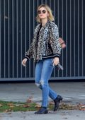 Lucy Hale steps out in an animal print jacket and jeans while running errands in Los Angeles