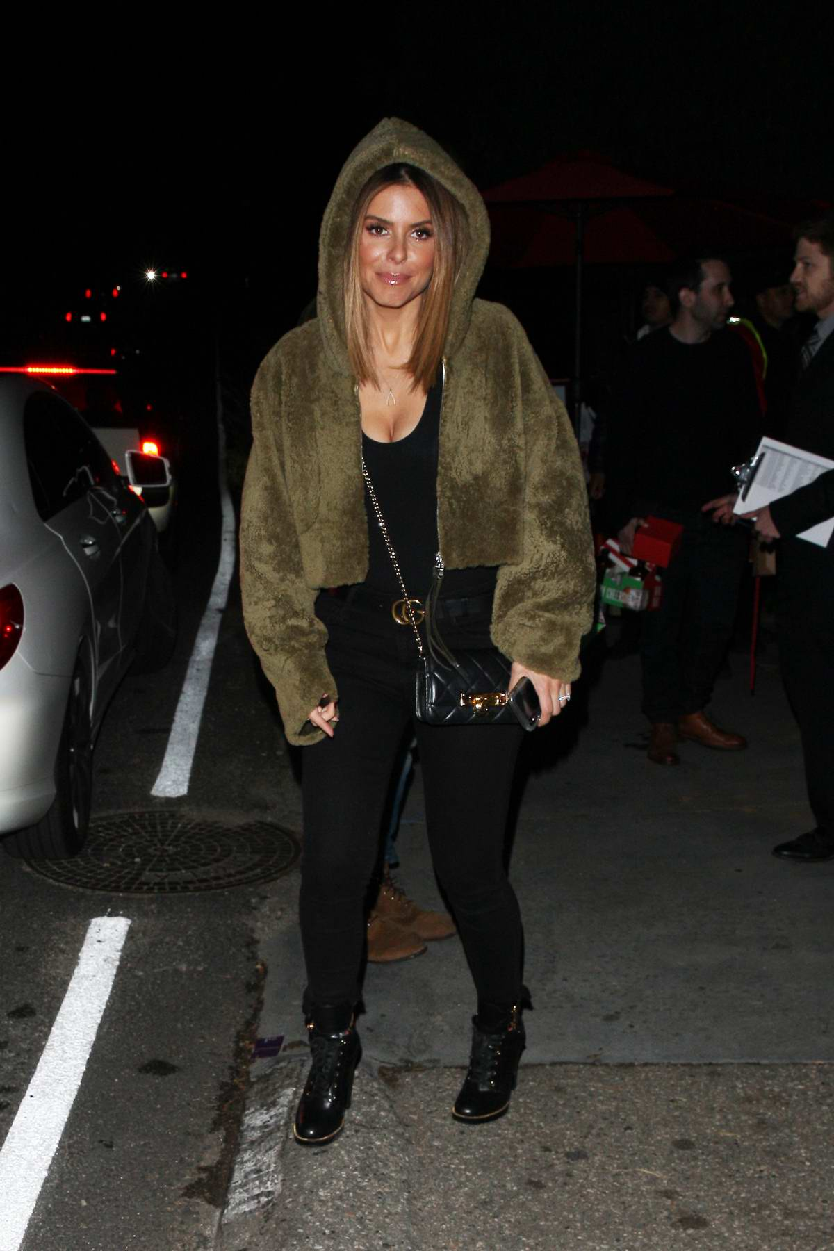 Maria Menounos spotted in a olive green hoodie as she leaves Jennifer Klein's Holiday Party in Los Angeles