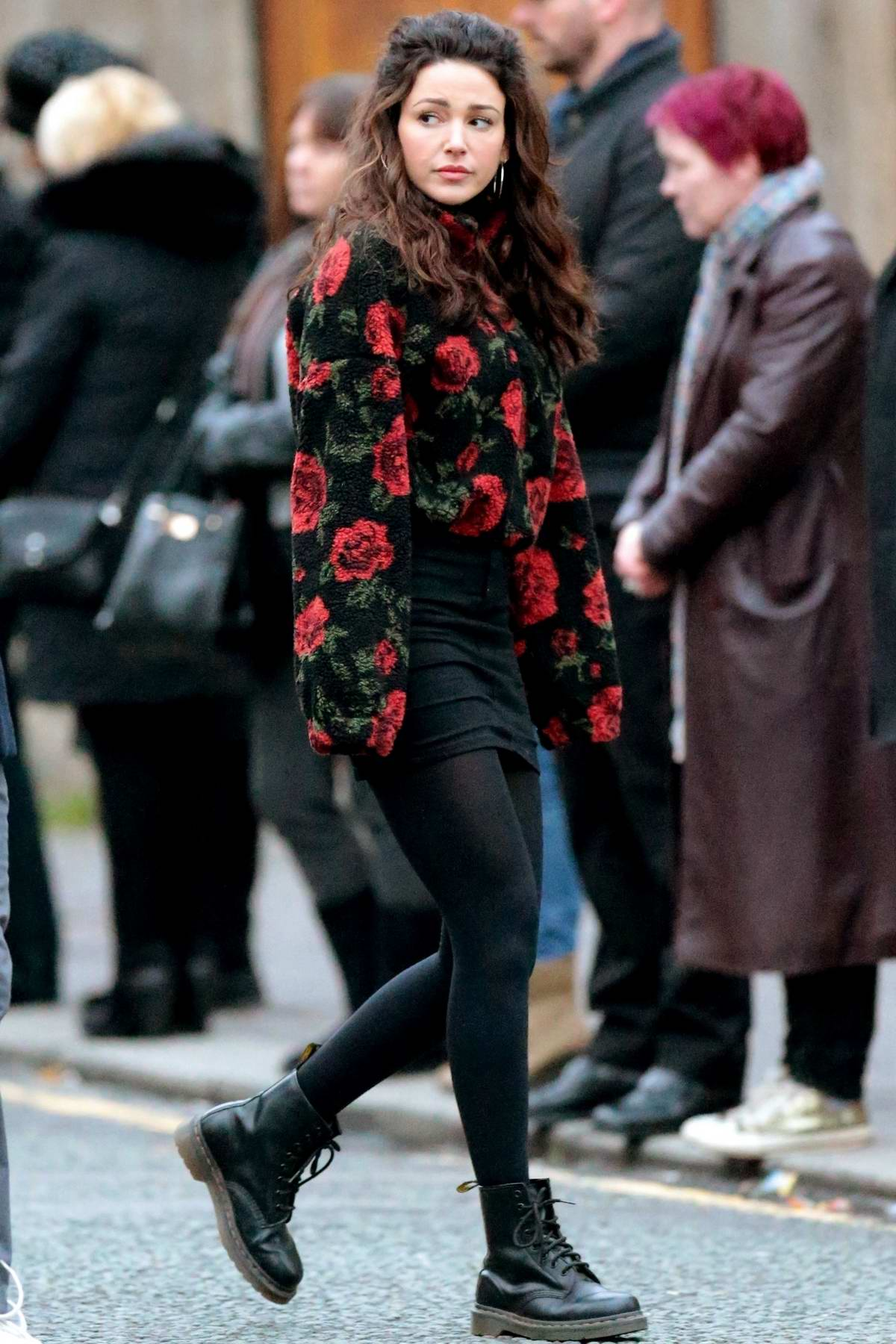 Michelle Keegan seen while filming scenes for upcoming drama 'Brassic' in Lancashire, UK