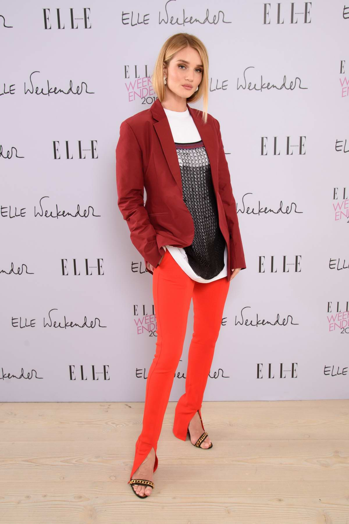 Rosie Huntington Whiteley attends day three of ELLE Weekender at The Saatchi Gallery in London, UK