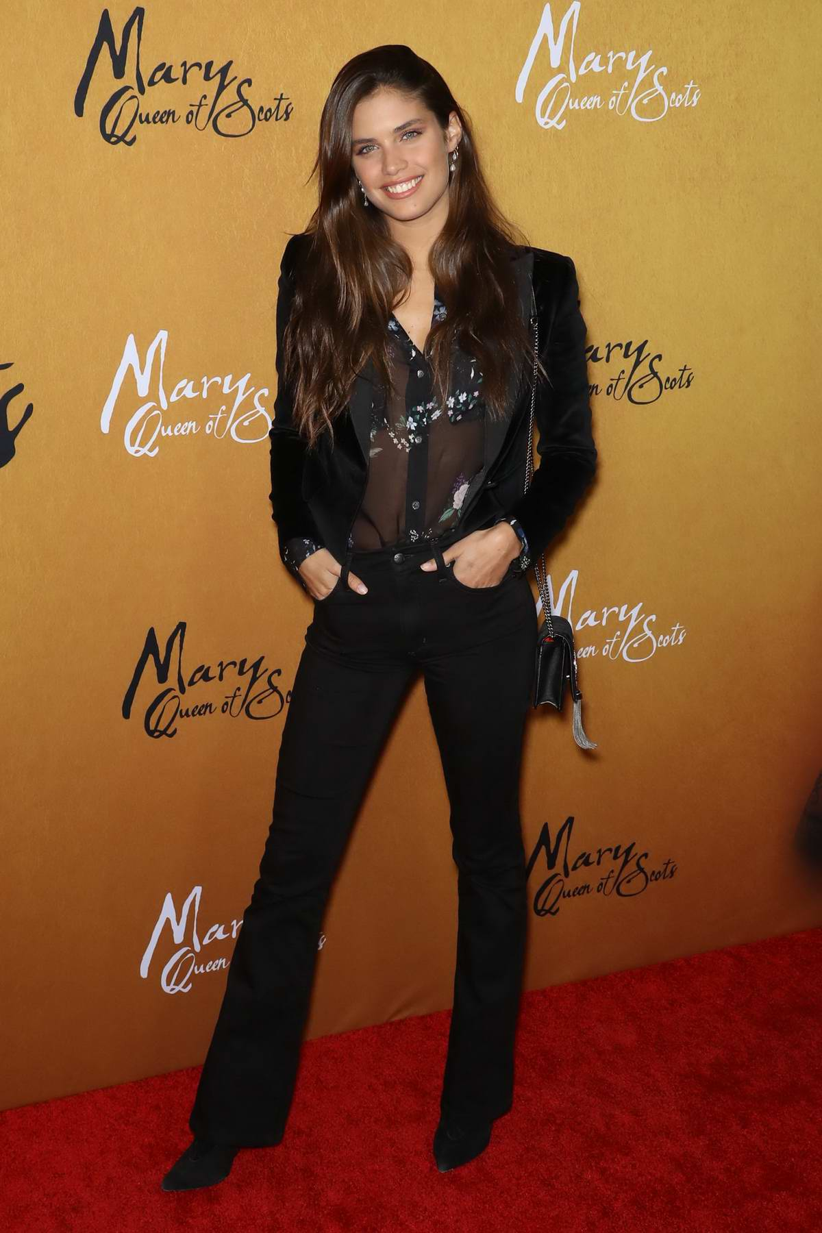 Sara Sampaio attends 'Mary, Queen of Scots' film premiere in New York City
