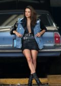 Alessandra Ambrosio rocks a biker chic look during a photoshoot at a garage in Little Havana, Miami, Florida