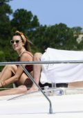 Alessandra Ambrosio spotted in a maroon bikini while enjoying a day on a yacht with her friends in Florianopolis, Brazil