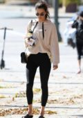 Alessandra Ambrosio wore a beige sweatshirt and black leggings to her pilates class at Reformacore in Los Angeles