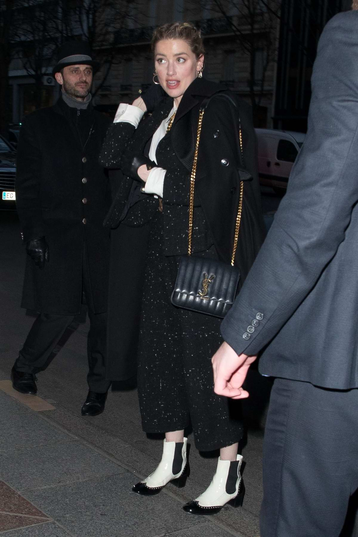 Amber Heard seen outside George V Hotel in Paris, France