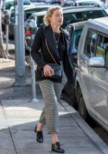 Amber Heard spotted in a black blazer and top with checkered pants while strolling back after lunch at Figaro Bistro in Los Feliz, California