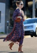 Amy Adams looks lovely in a flowing long dress while attending a fitting session in Beverly Hills, Los Angeles