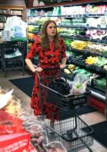 Amy Adams shopping for sushi and veggies in Beverly hills, Los Angeles