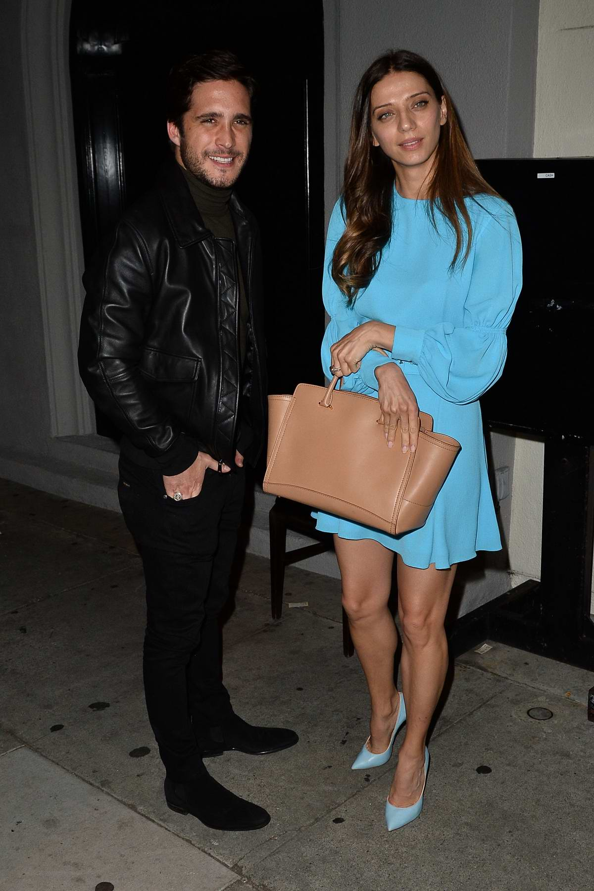 Angela Sarafyan and Diego Boneta spotted leaving after dinner at Craig's in West Hollywood, Los Angeles