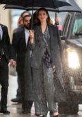 Anne Hathaway arrives for her appearance on Jimmy Kimmel Live! on a rainy day in Los Angeles