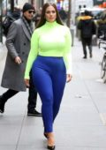 Ashley Graham wore a neon top and blue leggings while visiting the 'Today Show' in New York City