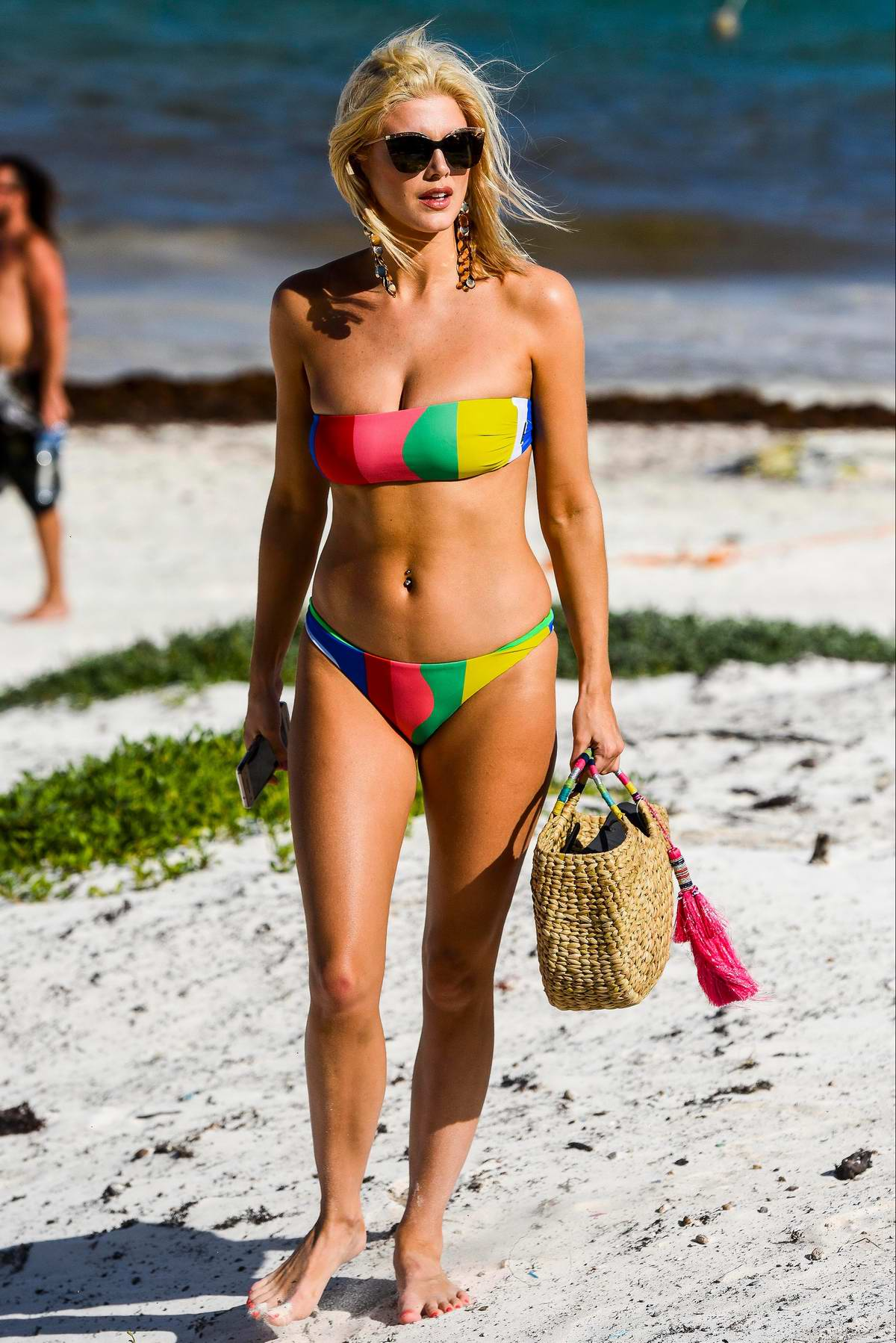 Ashley James looks stunning in a colorful bikini while hanging out at the beach during her vacation in Tanzania