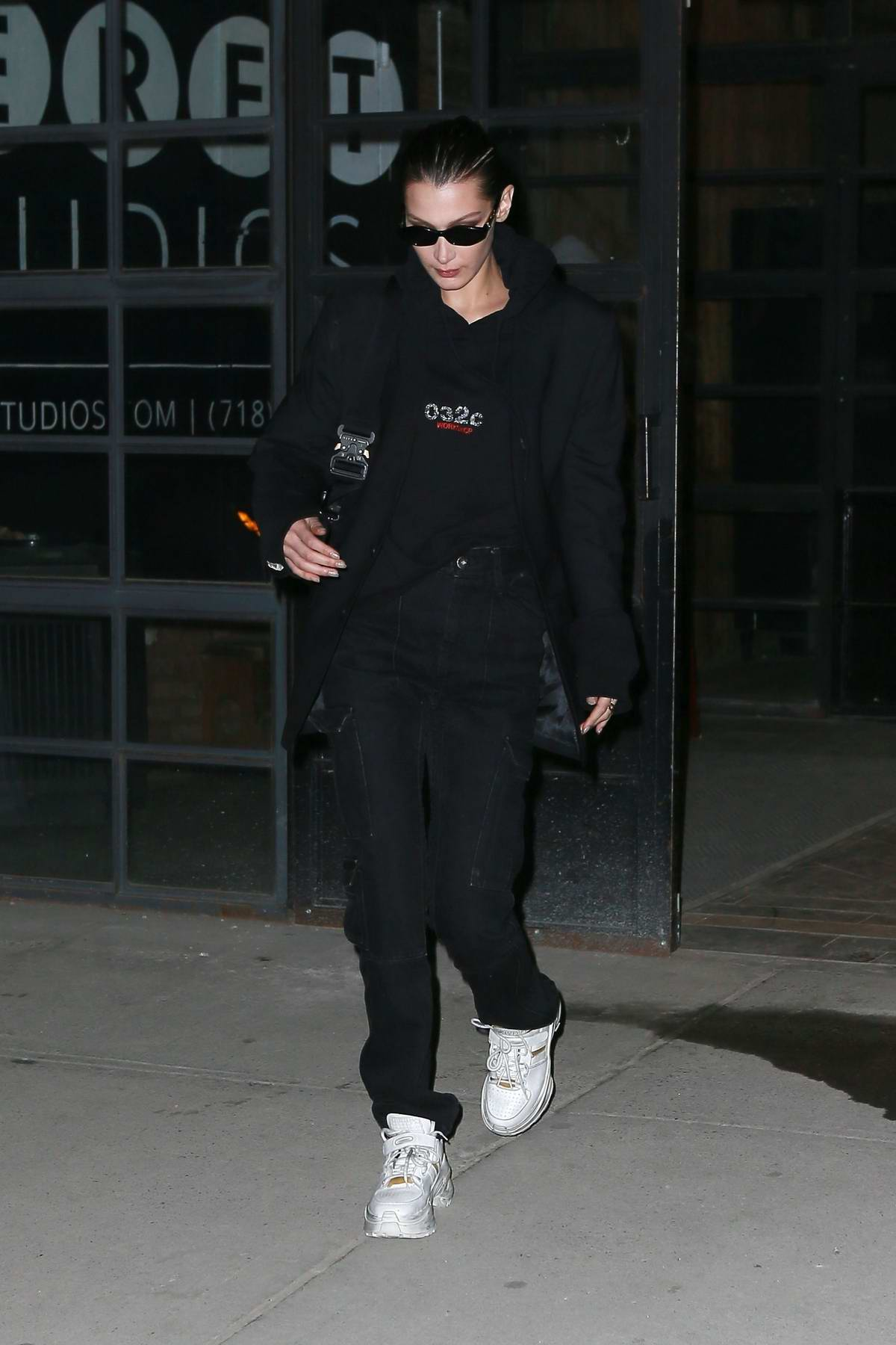 Bella Hadid dons all black as she stops by Seret Studios in Brooklyn, New York City