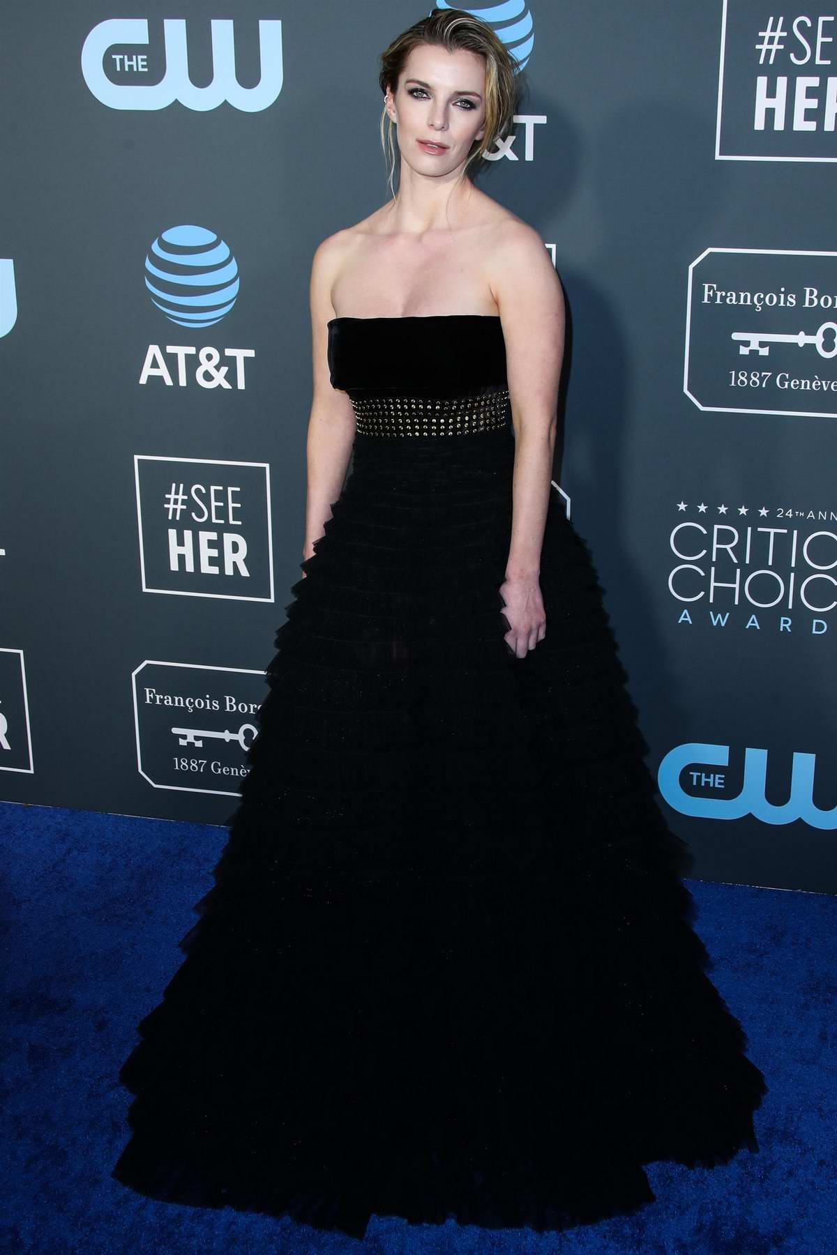 Betty Gilpin attends the 24th Annual Critics' Choice Awards at Barker Hangar in Santa Monica, California