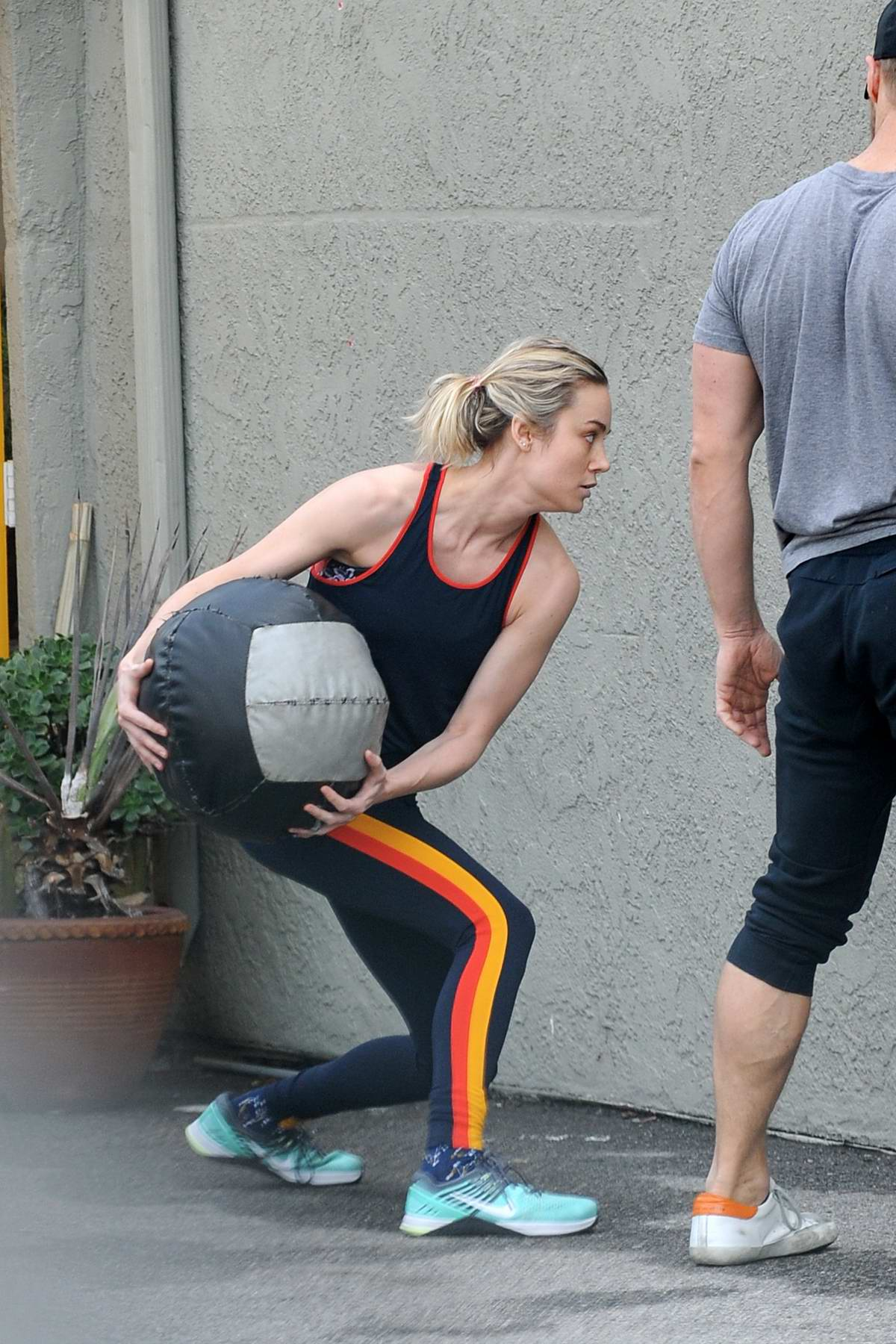 Brie Larson seen during an intense workout session at the gym in Los Angeles