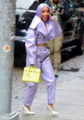 Cardi B looks pretty in purple for a taping of Netflix show 'Rhythm & Flow' in New York City