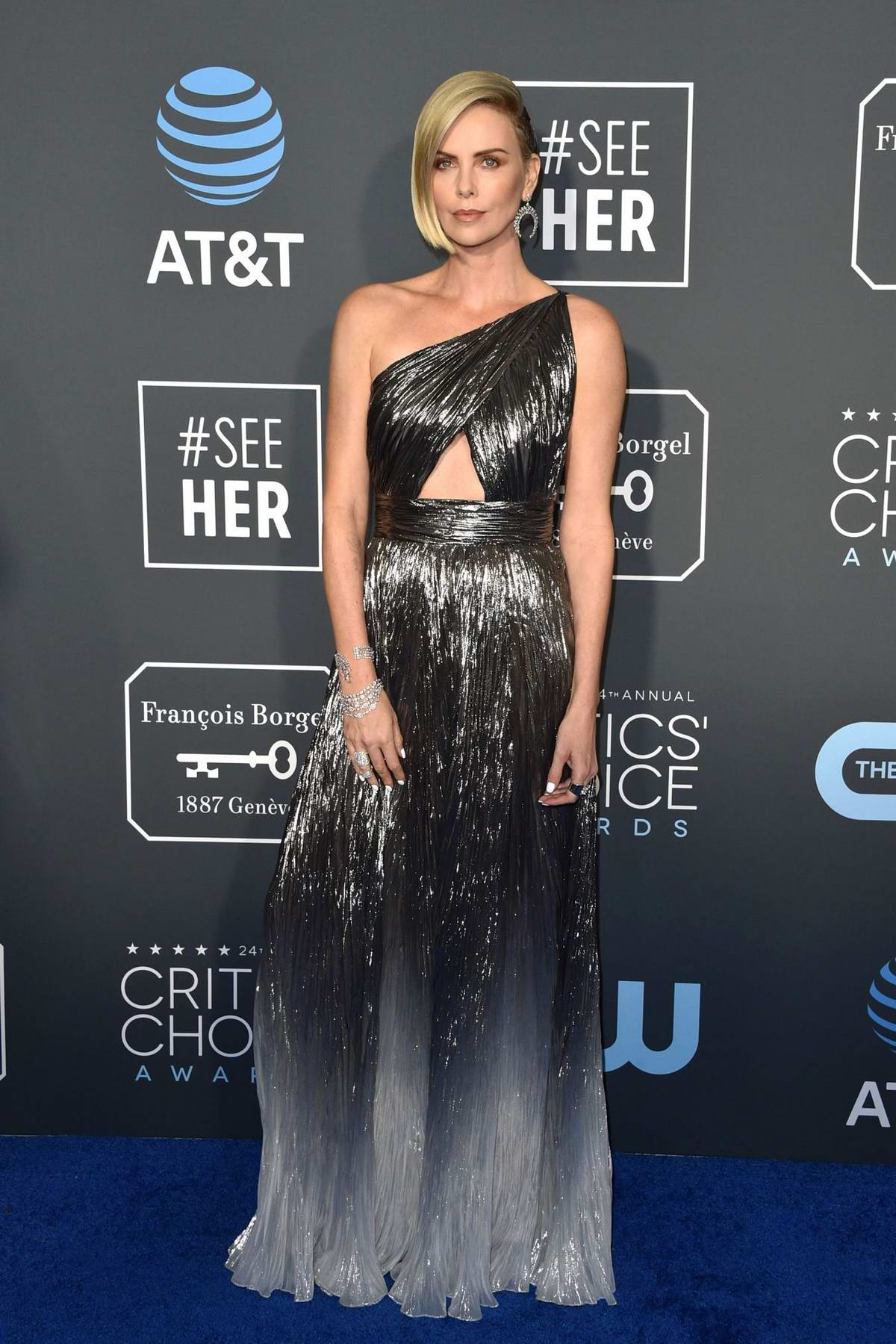 Charlize Theron attends the 24th Annual Critics' Choice Awards at Barker Hangar in Santa Monica, California