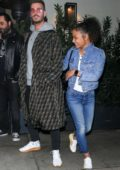 Christina Milian and Matt Pokora enjoys a dinner date at Madeo restaurant in Beverly Hills, Los Angeles
