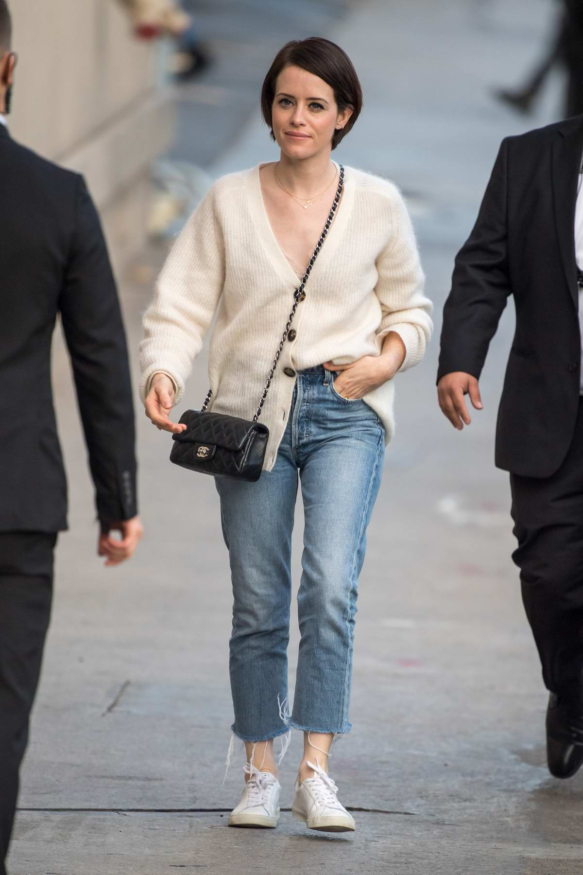 Claire Foy arrives for her appearance on 'Jimmy Kimmel Live' in Los Angeles