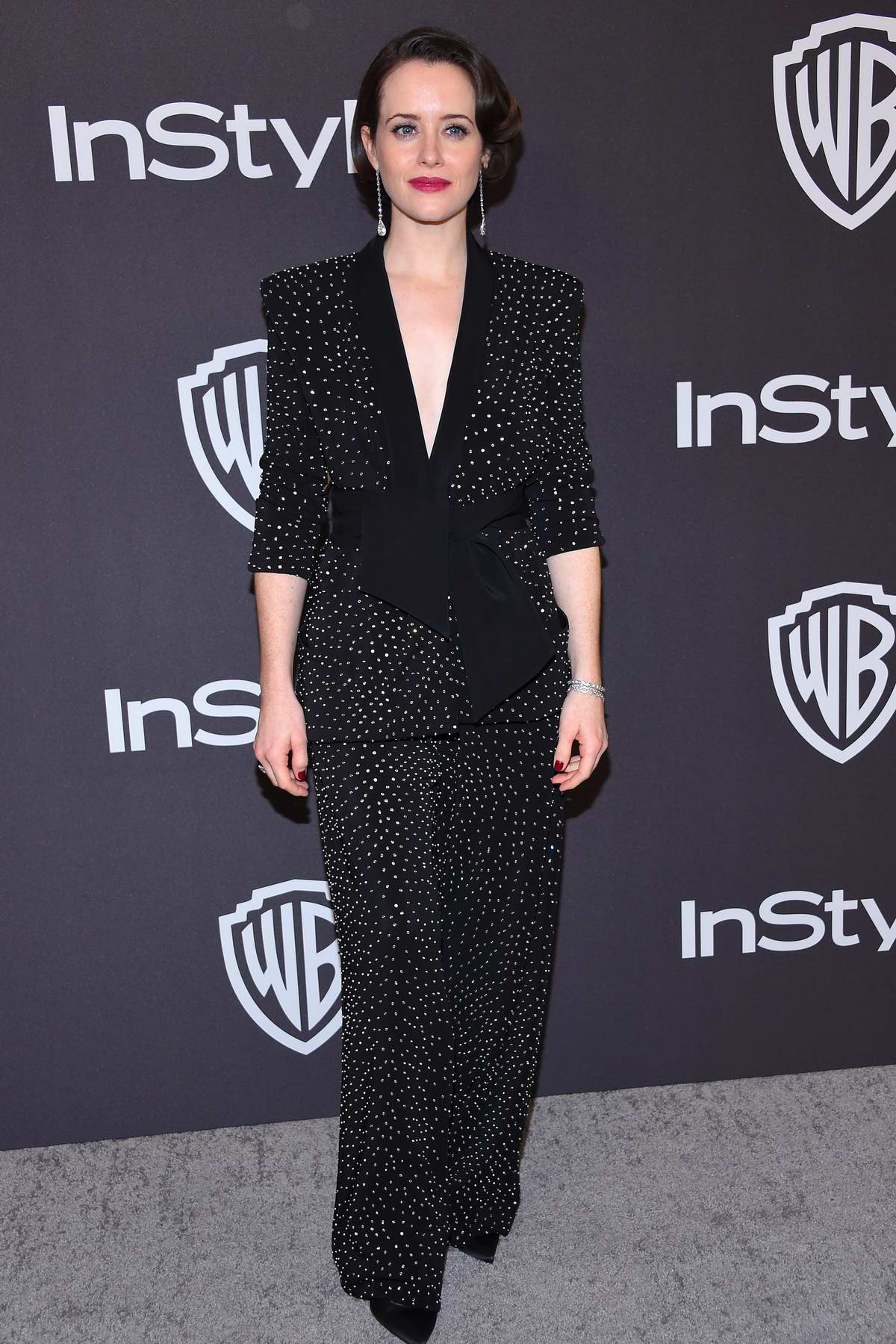 Claire Foy attends InStyle and Warner Bros Golden Globe After Party 2019 at Beverly Hilton Hotel in Beverly Hills, California