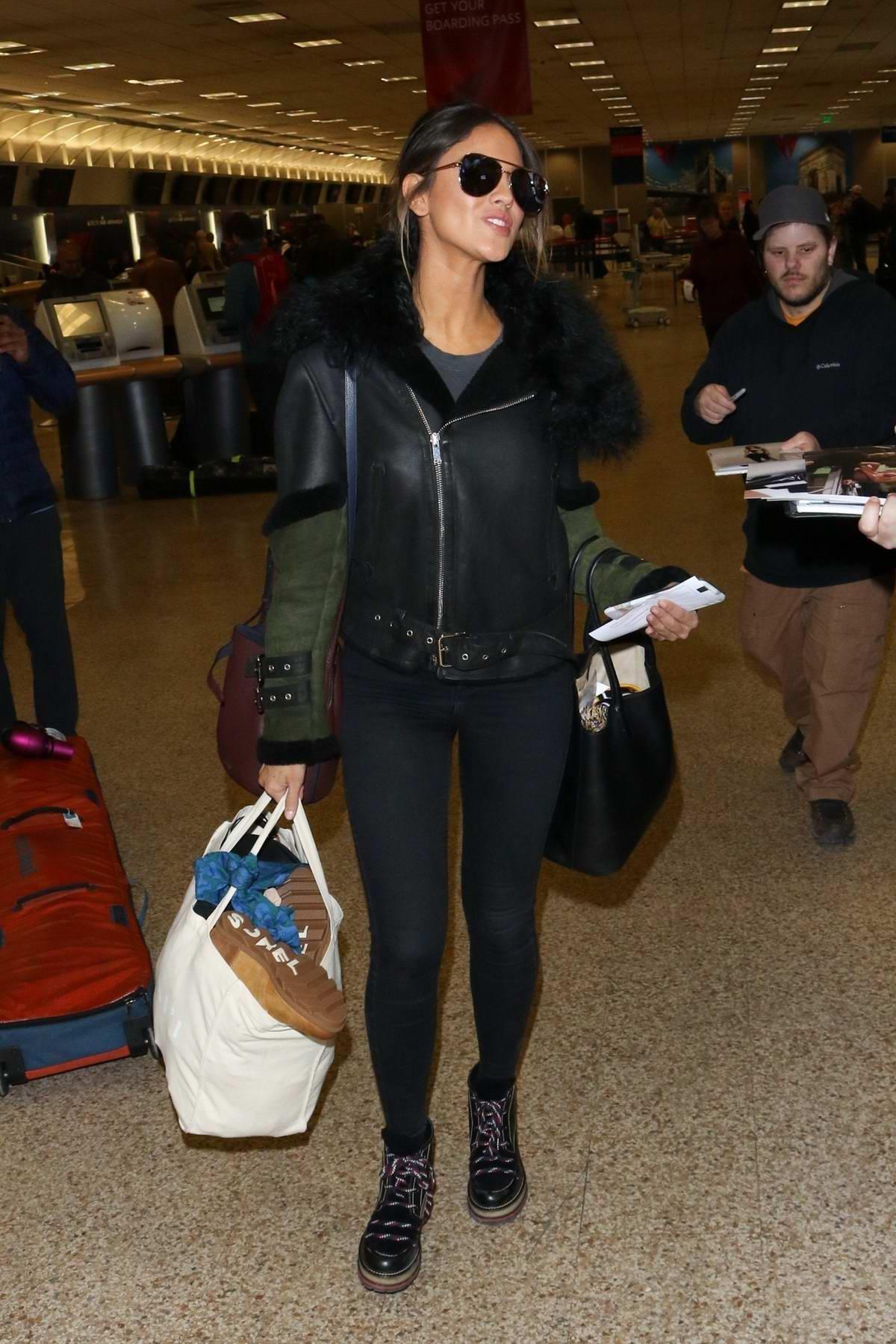 Eiza Gonzalez greets fans at Salt Lake City Airport during the Sundance Film Festival, Utah