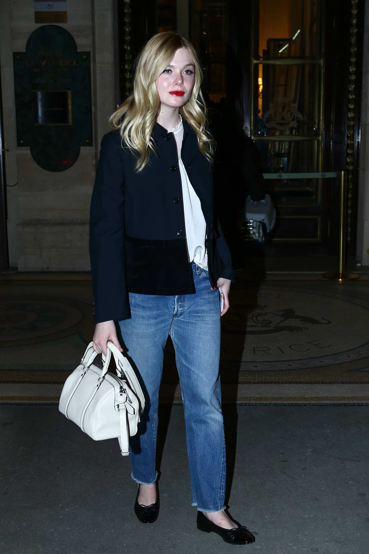 Elle Fanning seen arriving at Pink Mamma in Paris, France