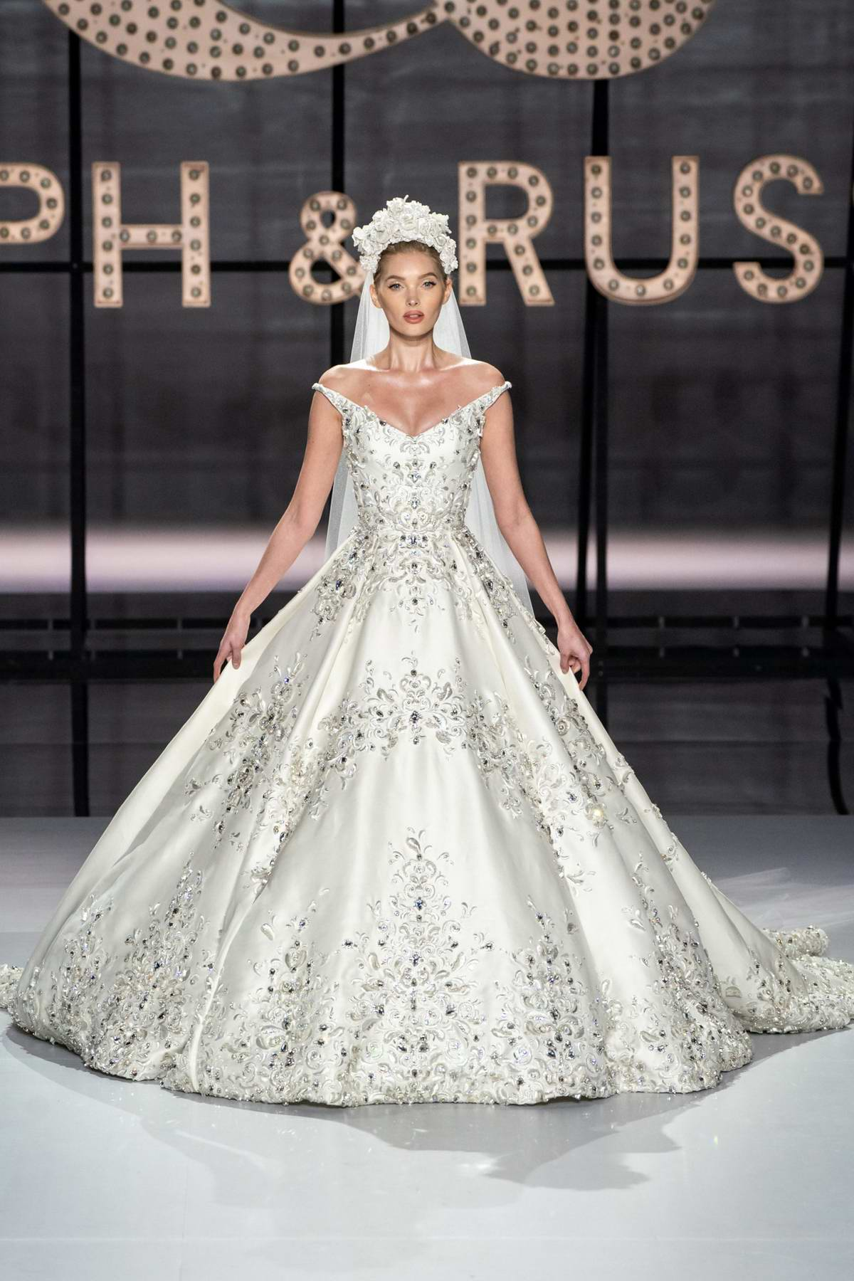 Elsa Hosk walks the runway at the Ralph & Russo Show, Haute Couture Spring/Summer 2019 during Paris Fashion Week, Paris, France