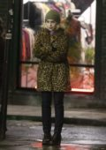 Emilia Clarke braves the cold weather while filming scenes for her upcoming film 'Last Christmas' in the streets of London, UK