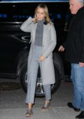 Emily Blunt wears an all grey outfit at the Mary Poppins Returns Q & A at the SVA Theatre in New York City