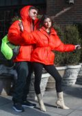 Emily Ratajkowski and Sebastian Bear-McClard are twinning in red parkas while kissing in New York City