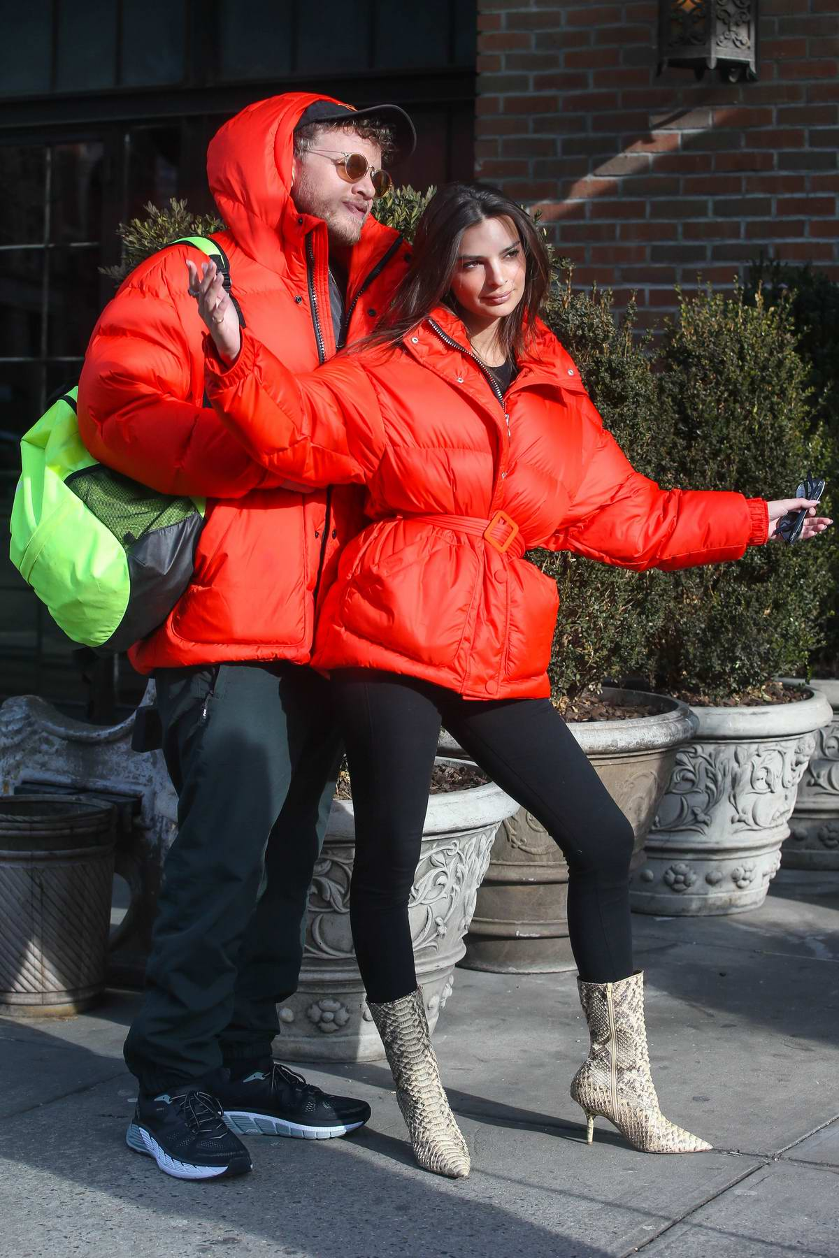 Emily Ratajkowski And Sebastian Bear Mcclard Are Twinning In Red Parkas While Kissing In New York
