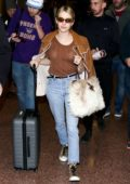 Emma Roberts arrives at Salt Lake City Airport for the 2019 Sundance Film Festival 2019, Utah