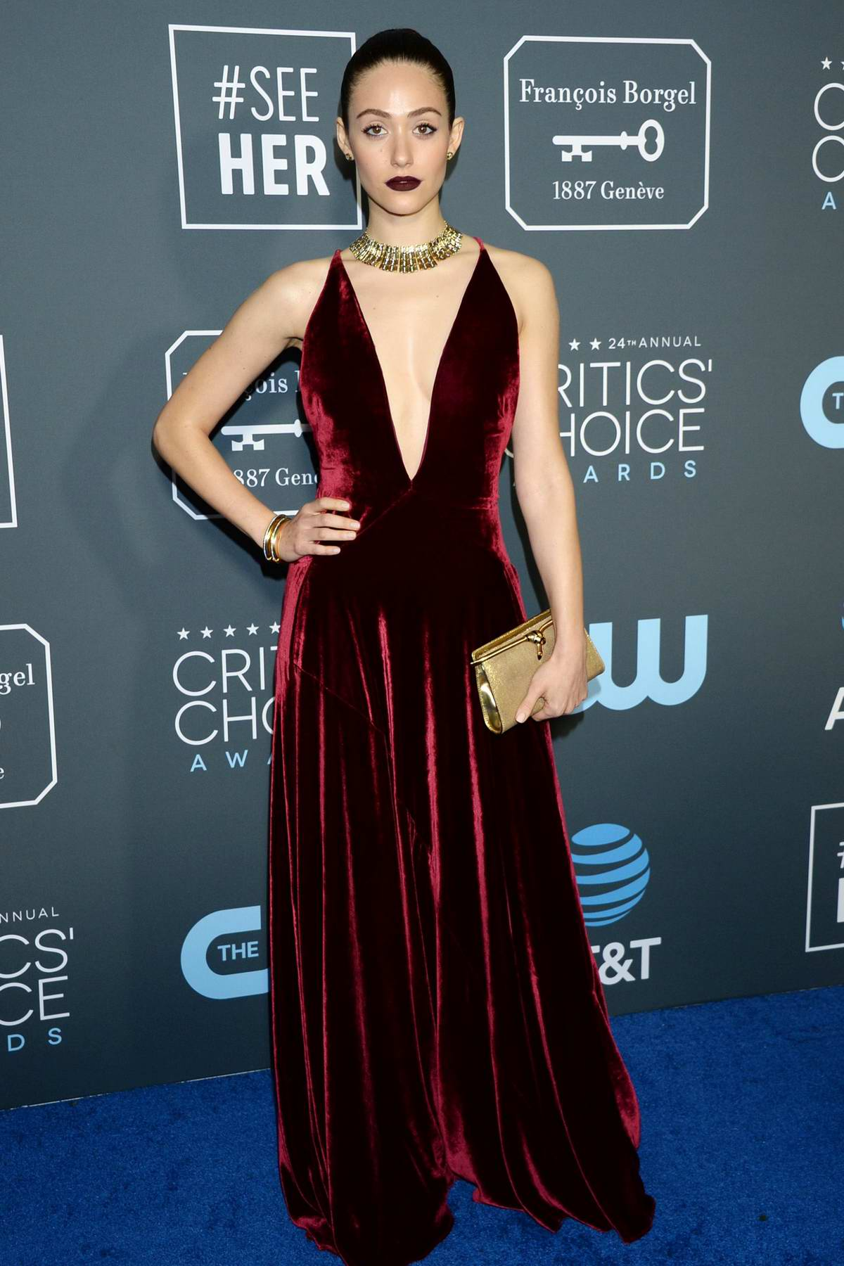 Emmy Rossum attends the 24th Annual Critics' Choice Awards at Barker Hangar in Santa Monica, California