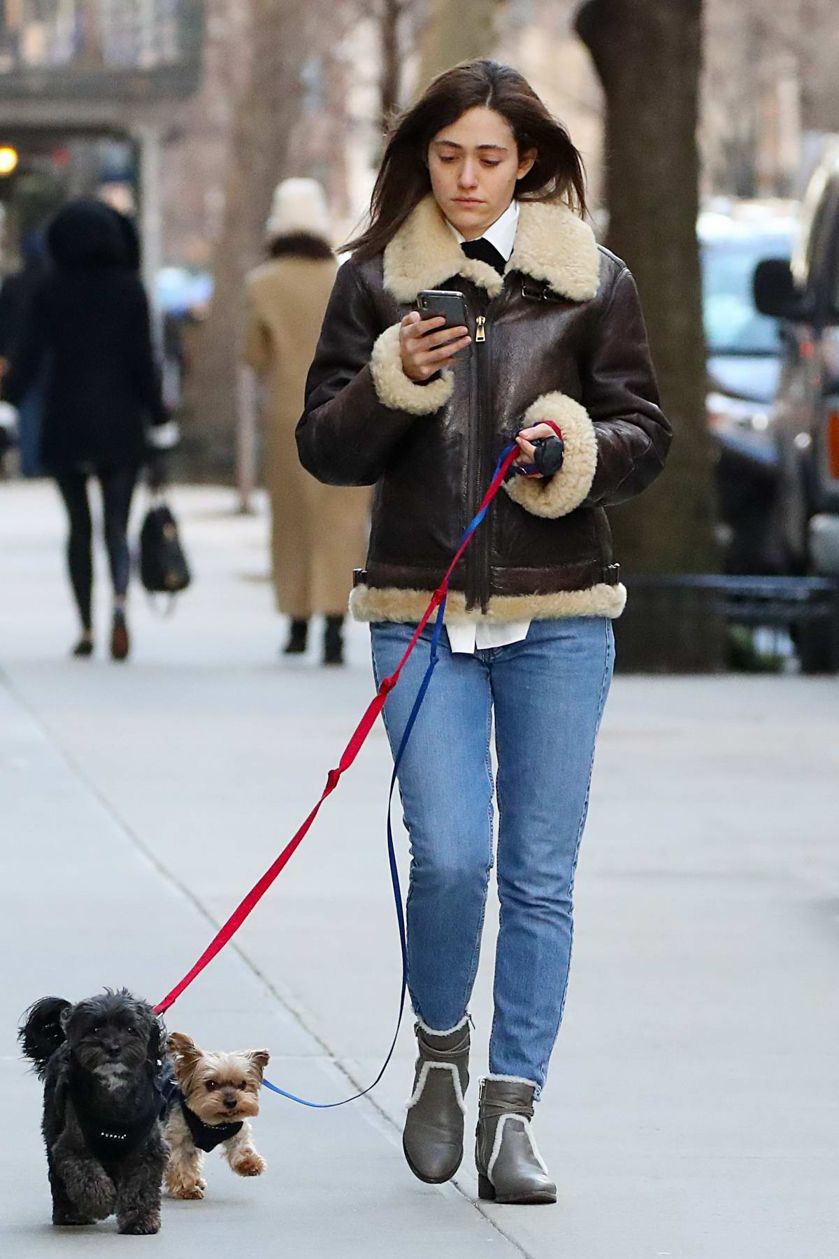 emmy rossum steps out to walk her dogs in new york city ...